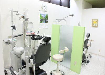 診療室です。パーテーションで仕切られておりますので、安心して治療を受けていただけます。
