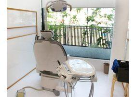診療室は2階にあります。木々の間から外が見えるようになっています。