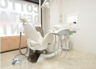 診察室です。患者様と真摯に向き合い、全力でお口をお守りいたします。