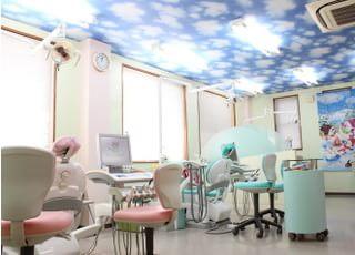 診療室です。天井は青空のデザインで壁はグリーンで怖さを与えないようなデザインとなっております。