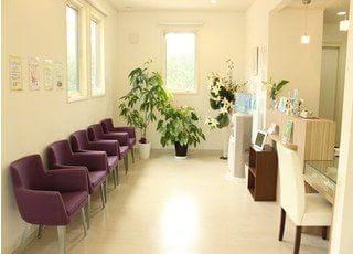 白を基調とした、オシャレで開放的な院内です。診療前後は、こちらでお待ちください。
