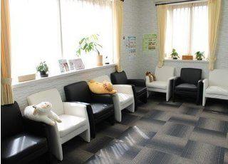待合室です。モノクロなソファが、印象的です。おくつろぎください。