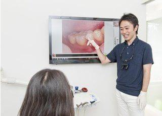 診療ではモニターを使ってわかりやすくお口の中をご説明いたします。