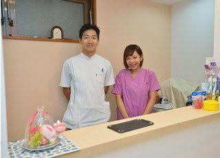 受付です。いつでも頼っていただけるような歯科医院を目指しております。