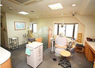 診療室です。パーテーションで仕切られていますので、安心して治療を受けていただけます。