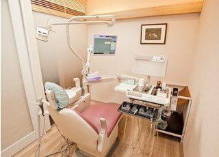 こちらの診療室で診察を行います。お口に関するお悩みや治療の疑問など、何でもお気軽にご相談ください。