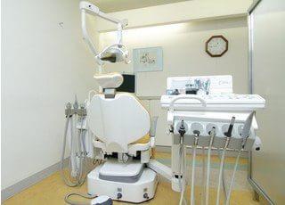 こちらの診療ユニットで診察いたします。パーテーションがございますので、開放感がありつつプライバシーにも配慮した造りになっています。
