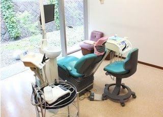 診療スペースです。広くゆとりがあり、パーテーションで仕切っているので周りを気にしないで治療が受けられます。