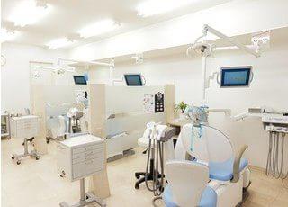 診療室です。清潔感を保ちリラックスして治療をお受けいただけます。