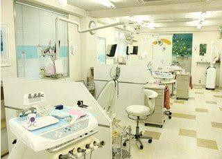 診療室には仕切りを設けています。