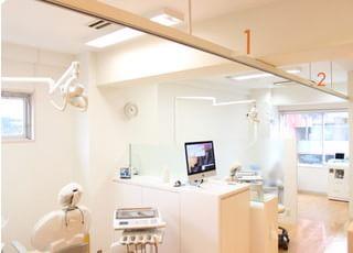 診療室です。こちらで皆様のお口のサポートを行います。