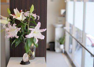 院内にはお花を飾り、リラックスしていただける空間づくりを心がけております。