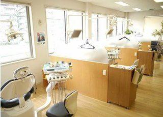 診療室は南側に面しているので、いつでも明るく、チェアごとにセパレートされているため他の方を気にせず治療を受けていただけます。治療用機器・デジタルレントゲン・説明用コンピュータなど 最新の設備を揃えております。