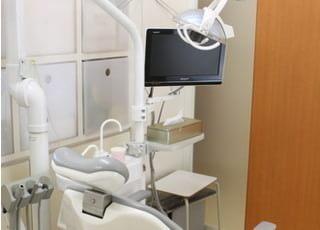 診療室です。モニターを見ながら治療を進めていきます。