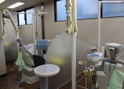 診療室です。一つ一つパテーションで仕切られています。