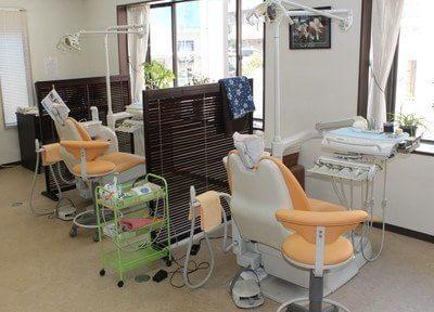 診療室は、パーテーションで区切られています。