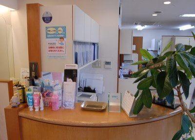 受付です。おすすめの歯科用品を置いています。