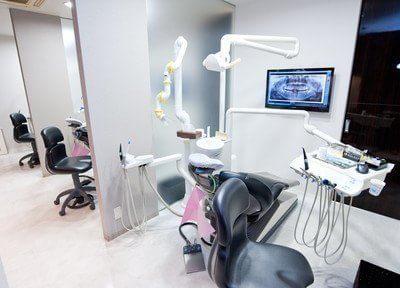 診療室です。パーテーションで区切られておりますので、プライバシーが気になる方もご安心ください。