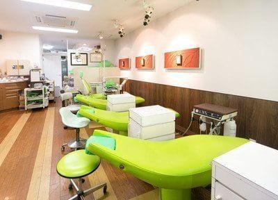診療室です。若葉色の鮮やかなチェアをご用意しています。