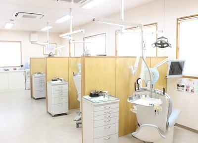 診療室です。チェア毎に仕切っており、患者様のプライバシーをお守りいたします。