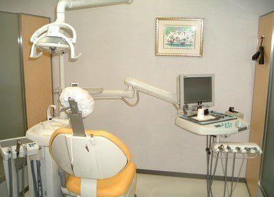 診療チェアです。患者様に触れる器具は滅菌処理を施していて安全です。