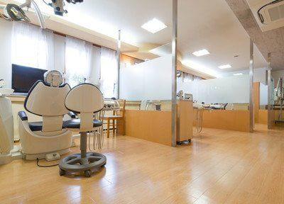 診療室です。患者様に周りを気にせずに治療を受けていただけるように、ユニットごとに仕切られています。