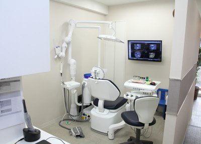 半個室な診療室で、患者様のプライベートな空間を確保して治療を行っております。