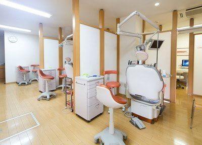 診察室です。患者様のプライバシーに配慮し、パーテーションで仕切られております。