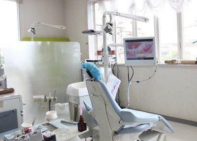 診療室です。患者様に分かりやすく丁寧な説明をします。