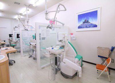 診療室です。チェアごとにパーテーションで仕切られております。