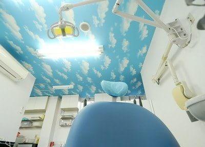 診療室です。天井には、空の壁紙を貼っております。