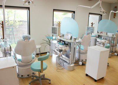 診療室は大きな窓に面していて、明るく開放的な雰囲気です。