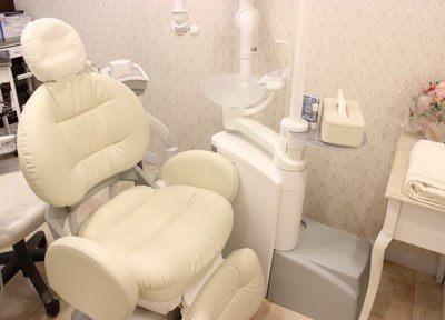 診療チェアです。白いふかふかのソファは座り心地も抜群です。