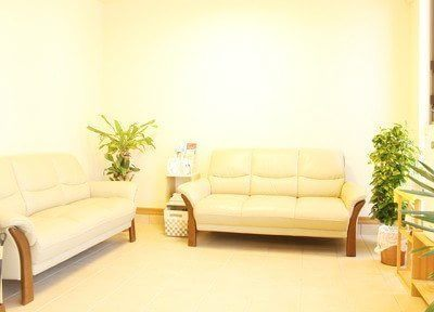待合室です。間接照明を使用しており、観葉植物も置いてありますので、リラックスしてお待ちいただけます。