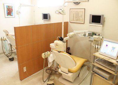 診療室には仕切りがあります。