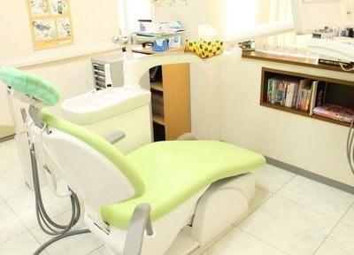 診療チェアです。こちらで診療を受けていただきます。診療室は常に清潔に保っています。
