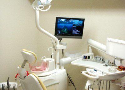 診療チェアの前にあるモニターを使い、ご説明します。