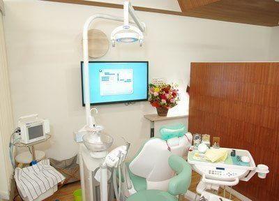 診療台です。歯医者が苦手な方でも、心からリラックスできる治療を心がけております。