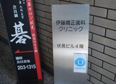 伊藤矯正歯科クリニックの看板です。こちらを目印にお越しください。