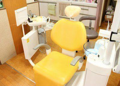 黄色い診療チェアで治療を行います。
