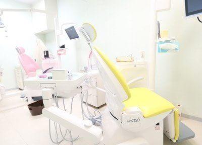 診療ブースです。カラフルな清潔感のある診療室内です。