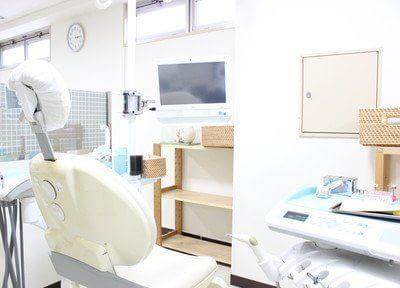 診療ユニットには画面モニターがついているので、ご自身の口内状態をチェックできます。