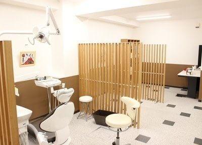 診療室には仕切りを設けプライバシーに配慮しています。