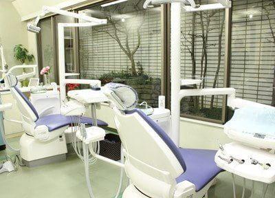 大きな窓でリラックスできる診療室です。