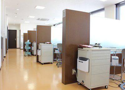 診療室全体です。各診療スペースは区切られていますので、患者様のプライバシーを保護します。
