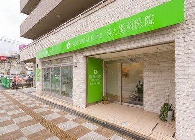 きど歯科医院の外観です。緑の鮮やかな看板が目印です。