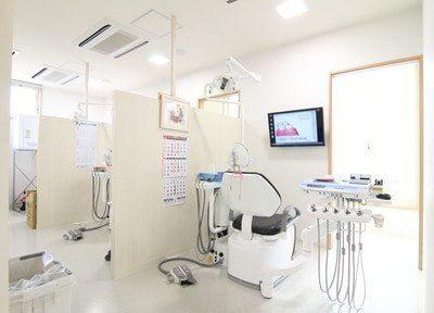 診療室はパーテーションで仕切られております。治療前には、モニターを使ってわかりやすいご説明をいたします。