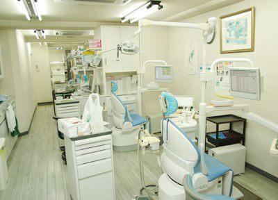 診療室です。診療ユニットを合計5台ご用意しており、奥行きのある広々とした空間です。
