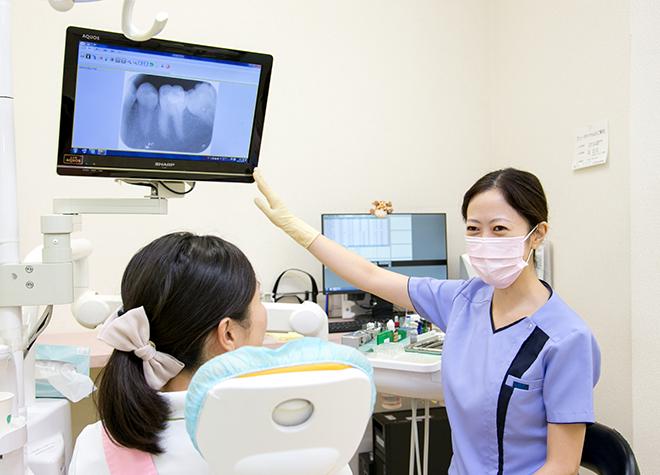 患者さまの予防意識を上げるために、歯周病のリスクを伝える資料や映像をお見せしています