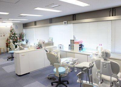 診療膣です。広々とした待合室が特徴的です。
